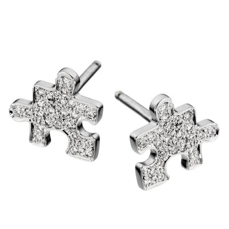 Akillis Python White Gold Diamond Stud Earrings lMMlh