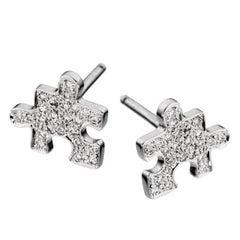 Akillis Mini Puzzle Clip Earrings 18 Karat White Gold White Diamonds