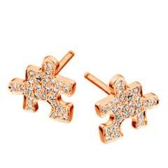 Akillis Mini Puzzle Clip Earrings 18 Karat Rose Gold White Diamonds