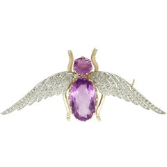 Antique Victorian 8.19 Carat Amethyst and Diamond Yellow Gold Insect Brooch