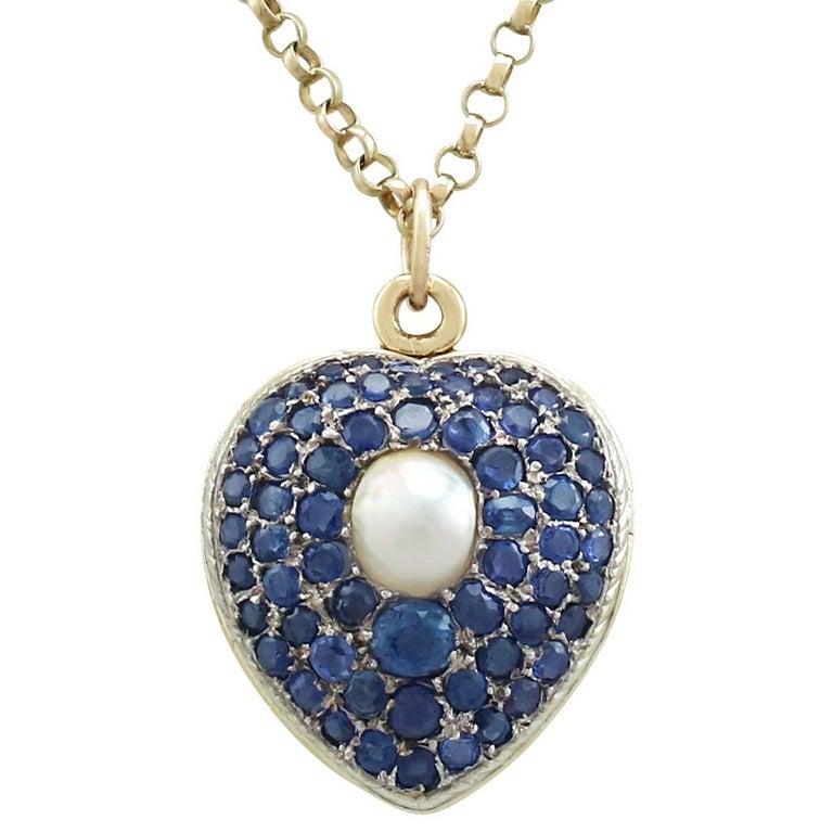 Antique Pearl and 3.49 Carat Sapphire 18 Karat Yellow Gold Heart Locket 1