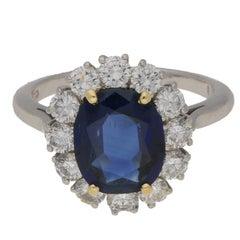 3.87 Carat Sapphire Diamond Cluster Engagement Ring