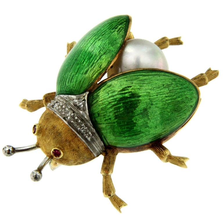 Green Enamel Pearl Diamond Gold Fly Brooch