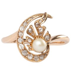 18 Karat Rose-Cut Diamond and Cultured Pearl Edwardian Ring