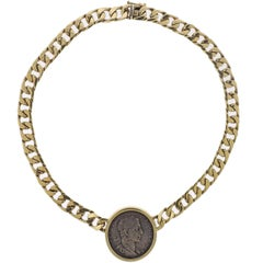 Ancient Coin Gold Pendant Necklace