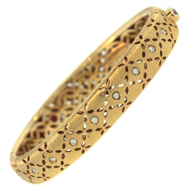 Roberto Coin Granada Yellow Gold and Diamond Bangle Bracelet