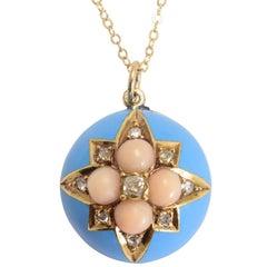 Victorian Coral Diamond Enamel Hemisphere Pendant