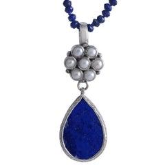 Emma Chapman Lapis Lazuli Pearl Pendant