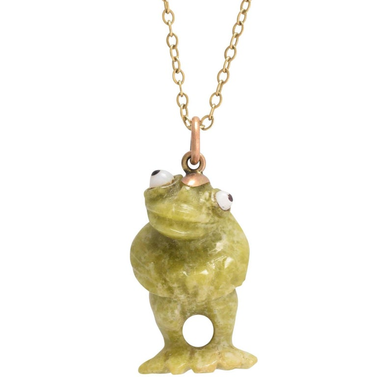 diamond white gold necklace red gemstone i frog pendant roberto green coin