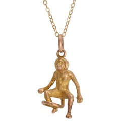 Antique Victorian Gold Monkey Charm Pendant