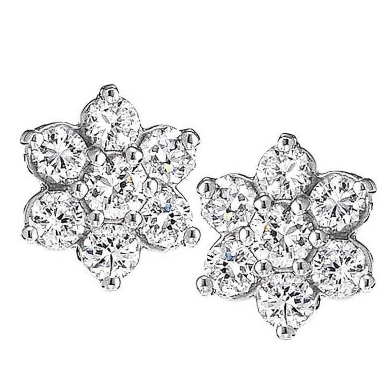 Diamond Gold Cluster Earrings For Sale