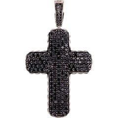 Large Size David Yurman Black Diamond and Silver Cross Pendant