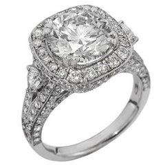 EGL Certified 3.01 Carat Engagement Ring Crafted in 18 Karat White Gold