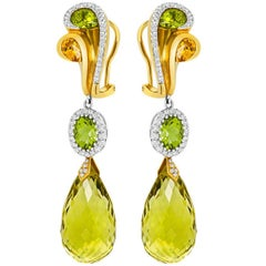 Tivon Monte Carlo 18k Yellow Gold Diamond Peridot Citrine long hanging earrings