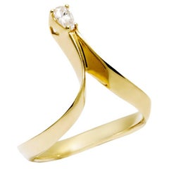 Daou Diamond Ring, Pear Cut Yellow Gold, Alternative Engagement Ring