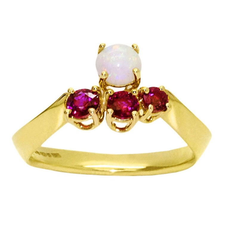Daou Ruby and Opal Yellow Gold Trilogy Crown Ring