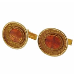 Ancient Hardstone Intaglio Gold Archaeological Cufflinks