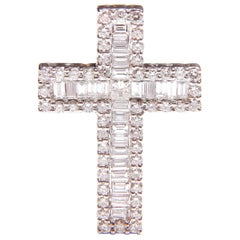 Diamond Full Set 18 Carat White Gold Cross Pendant - 77 Diamonds in total 1.5Ct