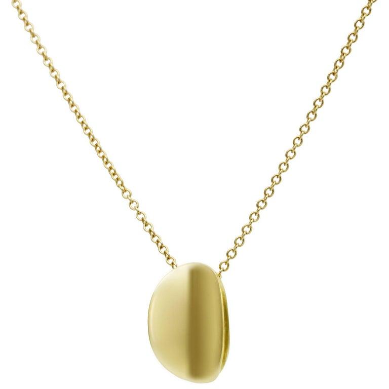 Daou Gold Sculptural Pure Ellipse Oval Pendant Necklace 1