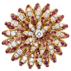 Van Cleef & Arpels Ruby and Diamond Brooch