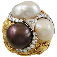 David Webb Diamond and Cultured Pearl Ring