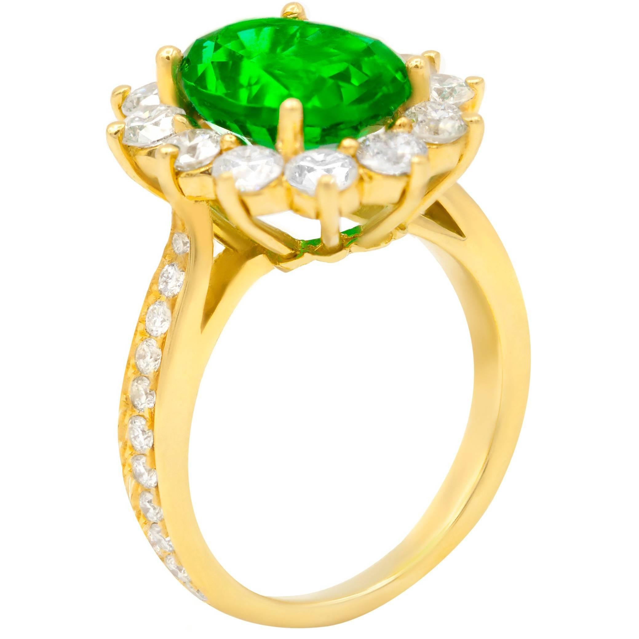 GIA Certified 4.20 Carat Green Emerald in Halo by 1.80 Carat of Diamonds Ring