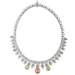 Tri Color Fancy Shape Necklace with over 50 Carat with Three Large Pear Shapes