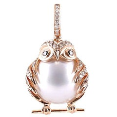 South Sea Pearl White Brown Black Diamond Owl Pendent