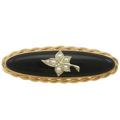 Antique Victorian Black Onyx and Seed Pearl Yellow Gold Mourning Brooch