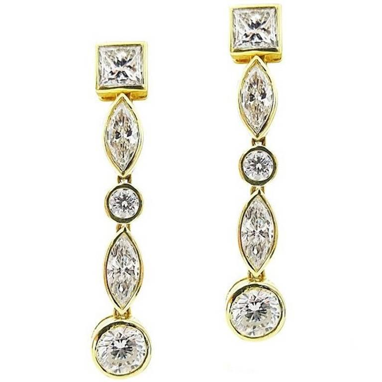 HRD Yellow Gold Mixed Diamond Earrings