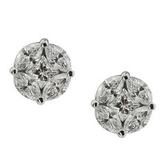 White Gold Marquise Cut Stud Earrings