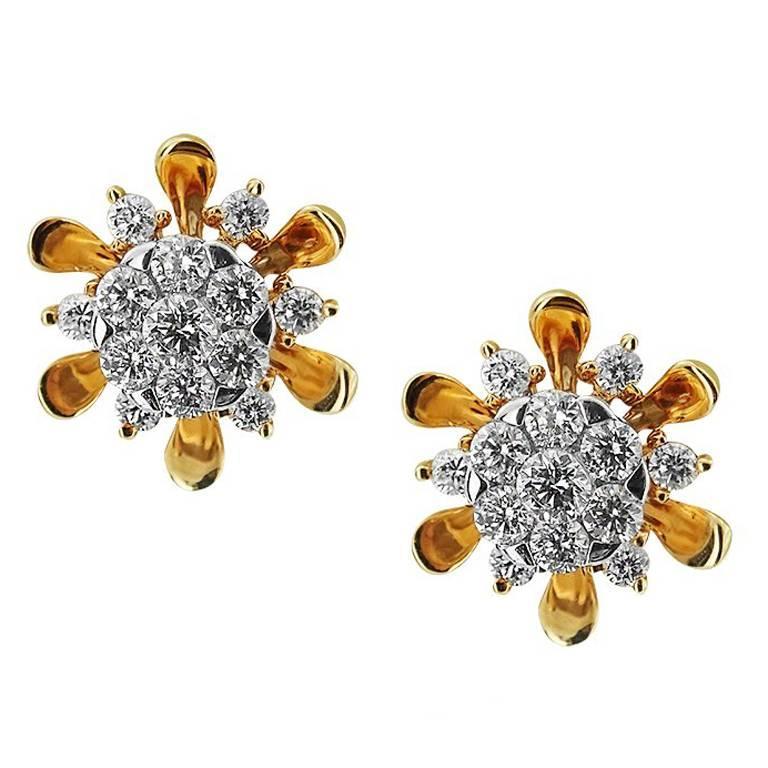 Rose Gold Flower Diamond Earrings