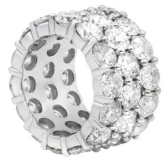 14.50 Carat Three-Row Eternity Band Crafted in Platinum