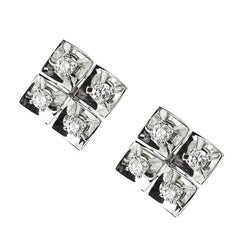 White Gold Square Earrings