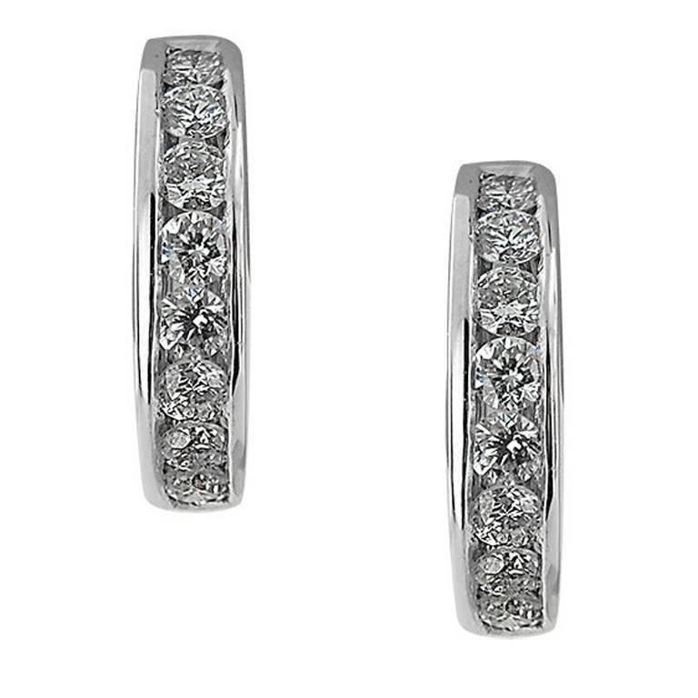 White Gold Small Hoop Diamond Earrings For