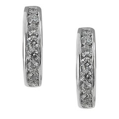 White Gold Small Hoop Diamond Earrings