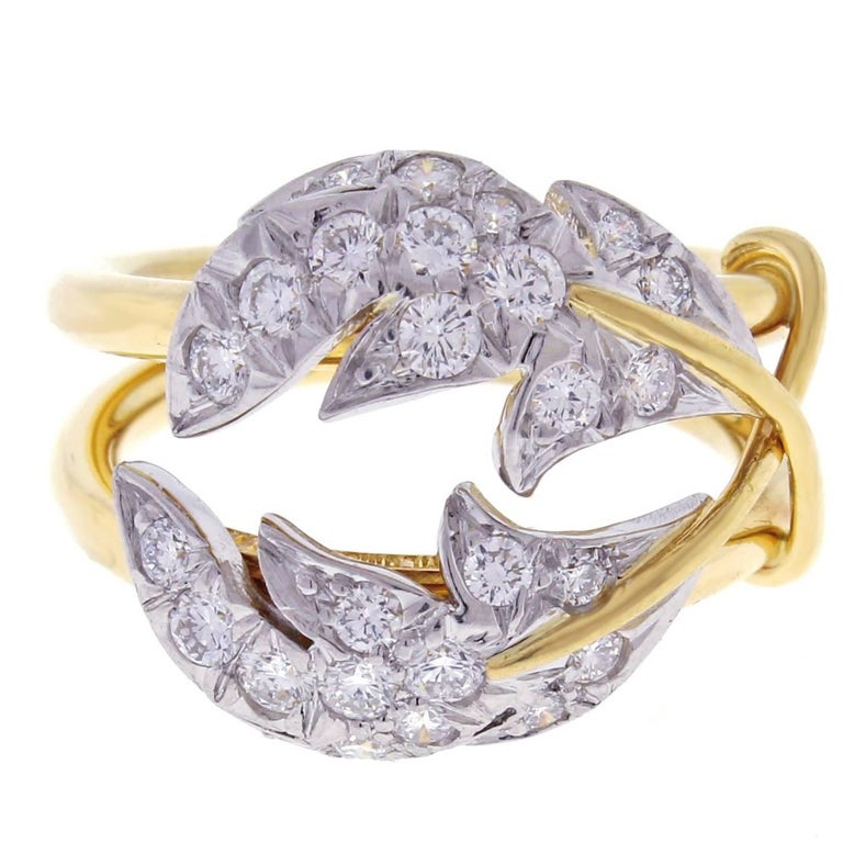Tiffany & Co. Schlumberger Diamond Yellow Gold Platinum Two Leaves Ring