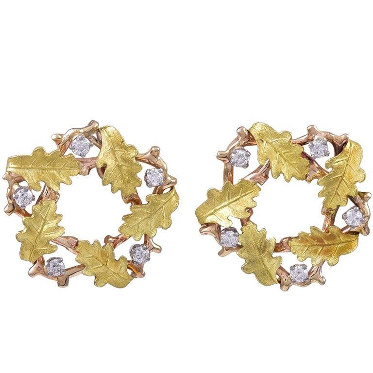 Gold and Diamond Tiffany & Co. Wreath Ear Clips