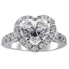 HRD Certified White Gold Heart Halo Engagement Ring