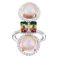 Nadine Aysoy 18 Karat Gold Double South Sea Pearl and Tourmaline Diamond Ring