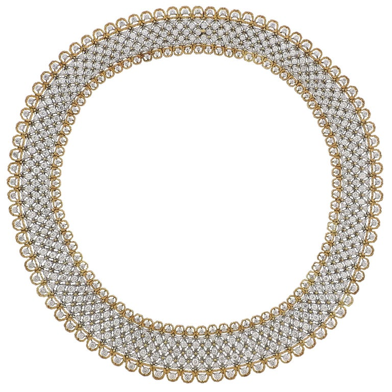 Exquisite Buccellati Diamond Gold Necklace For Sale
