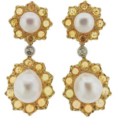 Buccellati Sapphire Pearl Gold Day and Night Earrings
