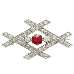 1890s Antique Victorian Ruby and 1.32 Carat Diamond Yellow Gold Brooch