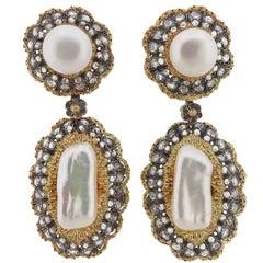 Buccellati Rose Cut Diamond Pearl Gold Night and Day Earrings