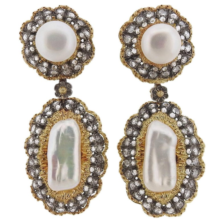 Buccellati Rose Cut Diamond Pearl Gold Night and Day Earrings For Sale