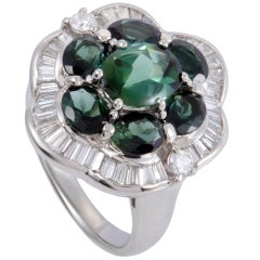 Diamond and Green Tourmaline Platinum Flower Ring