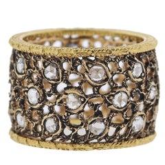 Buccellati 3 File Campanelli Rose Cut Diamond Gold Ring