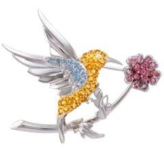 Citrine Topaz and Pink Tourmaline White Gold Bird Brooch