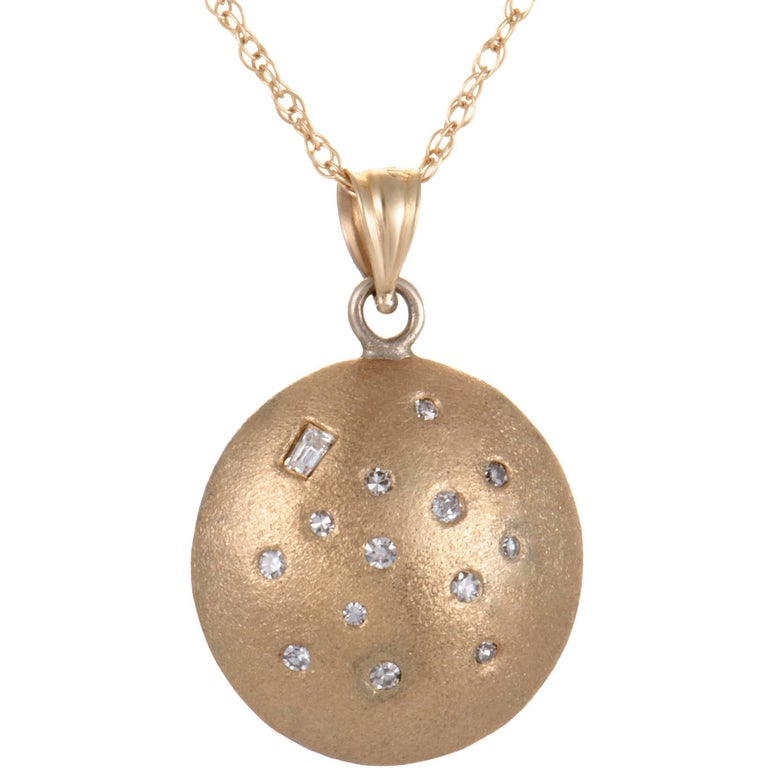 Diamond Disc Brushed Yellow Gold Pendant Necklace For Sale