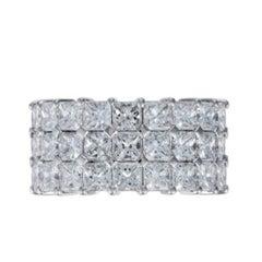 Platinum Three-Row Eternity Wedding Band with 12.62 Carat Princess Cut Diamonds